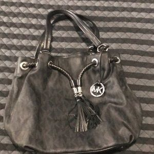 Large Drawstring Tassel Satchel Black Leather Tote